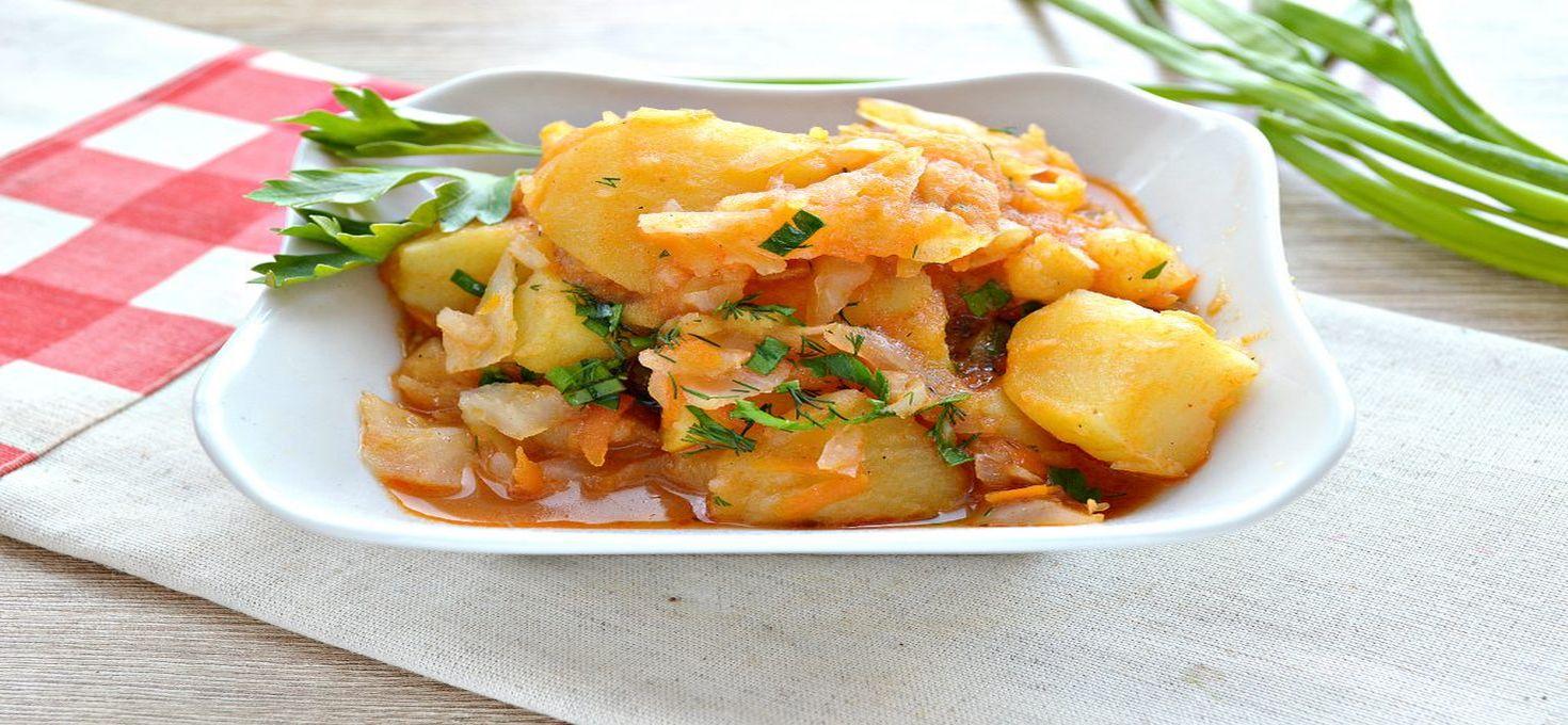 Капуста тушёная с картофелем